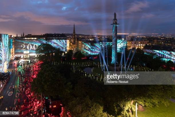 Projections illuminate the walls of St Andrews Square during the event 'Standard Life - Bloom ' in order to celebrate the opening of the 70th edition...