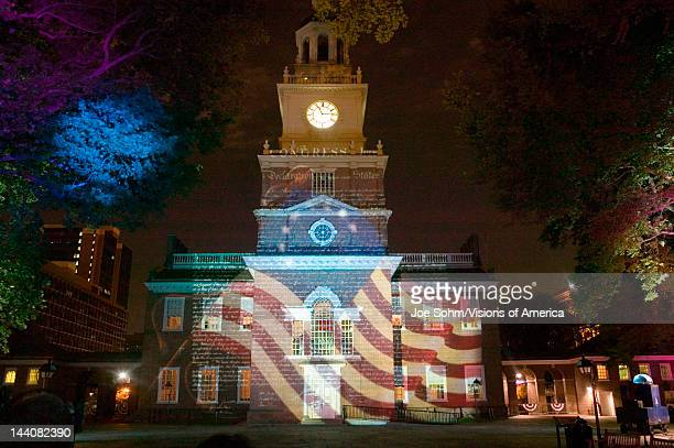 Projections of Betsy Ross Flag and US Constitution on outside of Independence Hall Philadelphia Pennsylvania