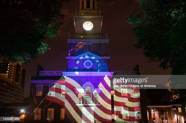 Projections of Betsy Ross Flag on outside of Independence Hall Philadelphia Pennsylvania