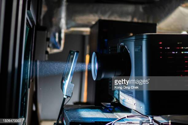 projector room, projector computer digital equipment backstage - film premiere stock pictures, royalty-free photos & images
