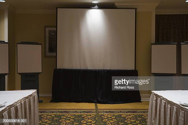 Projector screen in hotel conference room