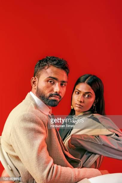 ProKabbadi league player Monu Goyat with model KJ Usha pose for a profile shoot on July 4 2018 in New Delhi India Massive Rs 151 crore bid made Monu...