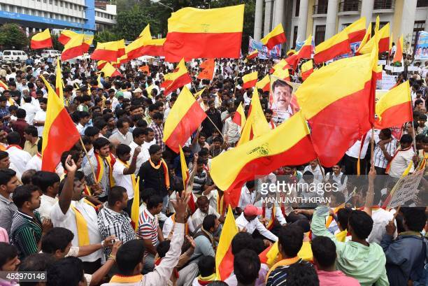 ProKannada activists wave the Karnataka flag stage during a demonstration calling for the shutdown of the city in protest against the rising crimes...