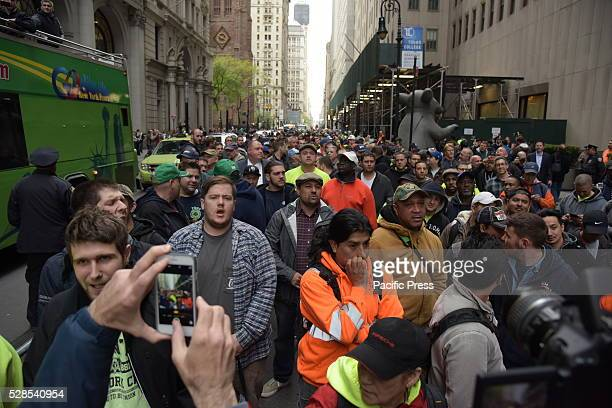 Prolabor activists fill Broadway in Lower Manhattan Members of the building construction trades council of greater New York rallied along with...