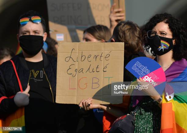 A ProLGBT activist holds 'Liberte Equalite LGBT' placard during the annual Krakow Equality March 2020 This year's edition of the Equality March has...
