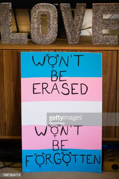 A proLGBT rights sign sits on display at the home of Skyler Jay a University of Georgia catering manager not pictured in Athens Georgia US on Monday...