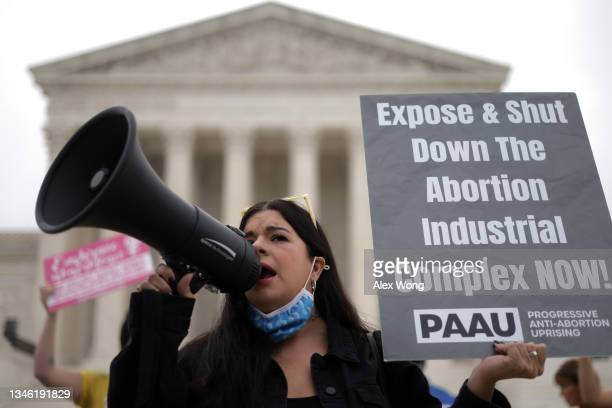 Pro-life activist rallies for a ban on abortion in front of the U.S. Supreme Court October 12, 2021 in Washington, DC. The Supreme Court is scheduled...