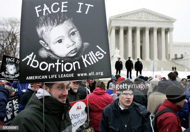 Prolife activists hold signs outside the US Supreme Court during the 'March for Life' event January 24 2005 in Washington DC The annual antiabortion...
