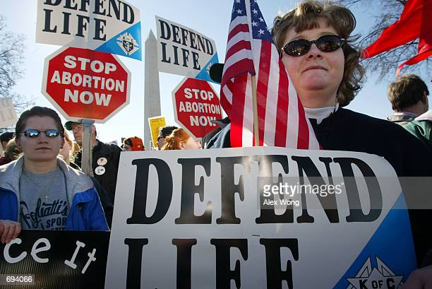 Prolife activists Lori Gordon and Tammie Miller of Payne OH take part in the annual 'March for Life' event January 22 2002 in Washington DC Activists...