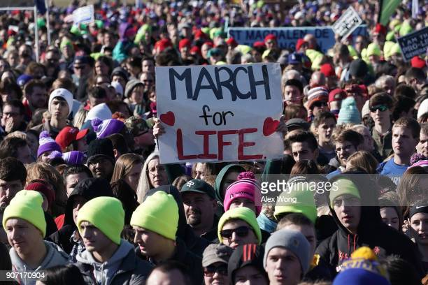 Prolife activists participate in a rally at the National Mall prior to the 2018 March for Life January 19 2018 in Washington DC Activists gathered in...