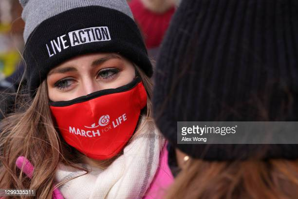 Pro-life activists participate in the 48th annual March for Life outside the U.S. Supreme Court January 29, 2021 in Washington, DC. Due to the...