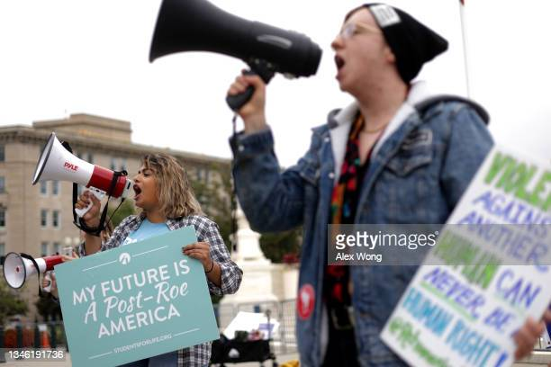 Pro-life activists rally for a ban on abortion in front of the U.S. Supreme Court October 12, 2021 in Washington, DC. The Supreme Court is scheduled...