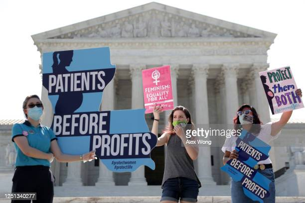 Pro-life activists stage a protest in front of the U.S. Supreme Court June 22, 2020 in Washington, DC. The Supreme Court is expected to issue a...