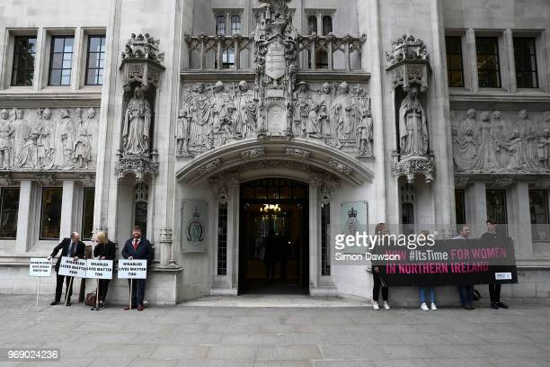 Prolife and pro abortion protestors demonstrate outside the supreme court in London where judges will be ruling on an appeal against Northern...