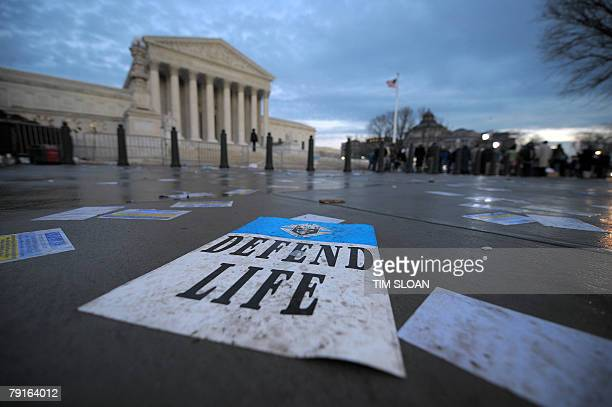 Pro-life and pro-choice supporters hold rallies into the evening 22 January 2008 outside the US Supreme Court in Washington, DC marking the 35th...