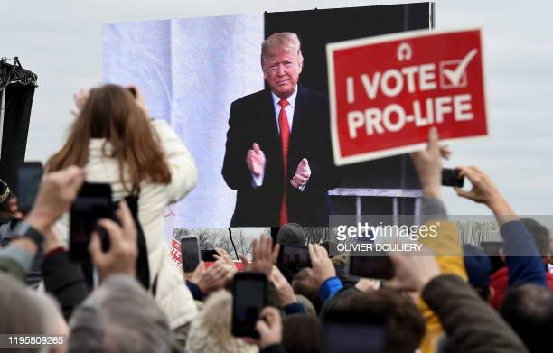 TOPSHOT Prolife demonstrators listen to US President Donald Trump as he speaks at the 47th annual March for Life in Washington DC on January 24 2020...