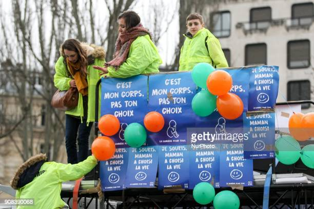Prolife demonstrators take part in a 'March for life' demonstration in Paris on January 21 2018 against abortion assisted reproduction and euthanasia...