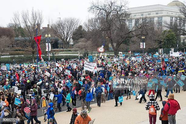 ProLife marchers participate in the 'March for Life' Tens of thousands of ProLife supporters rallied in Washington DC on the anniversary of the...