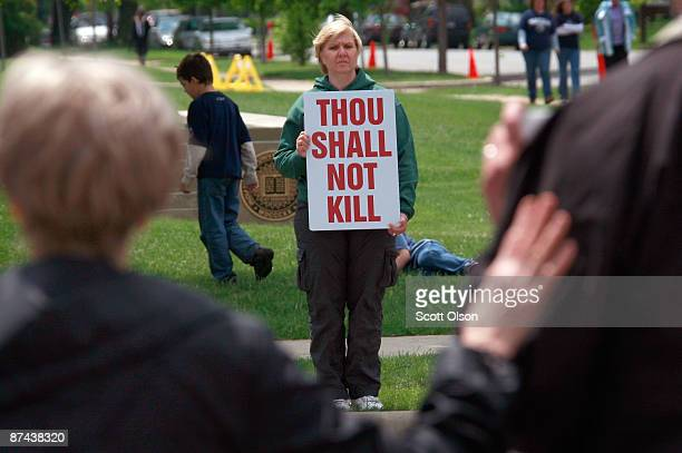 Pro-life protestor demonstrates outside the campus of Notre Dame University on May 16, 2009 in South Bend, Indiana. Pro-life activists from around...
