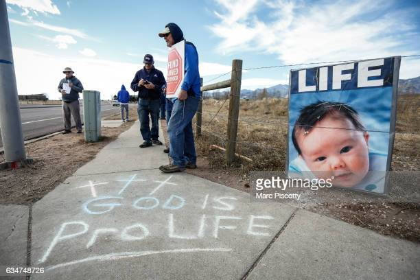 ProLife protestors demonstrate outside of the Colorado Springs Westside Health Center February 11 2017 in Colorado Springs Colorado The protest is...