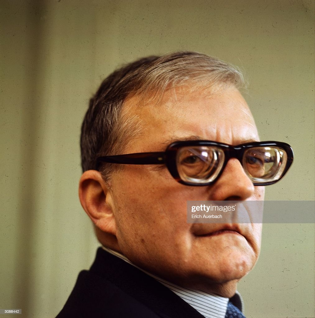 Prolific Russian composer and pianist Dmitri Shostakovich (1906 - 1975). His 7th symphony, the 'Leningrad' was influenced by his experiences during the siege of that city during WW II and achieved worldwide acclaim. However in the Stalinist regime his music was often criticised and he was removed from his post as Professor of Composition in the Moscow Conservatoire after WW II.