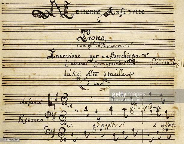 Prologue of Il Barcheggio symphony by Alessandro Stradella Modena Biblioteca Estense
