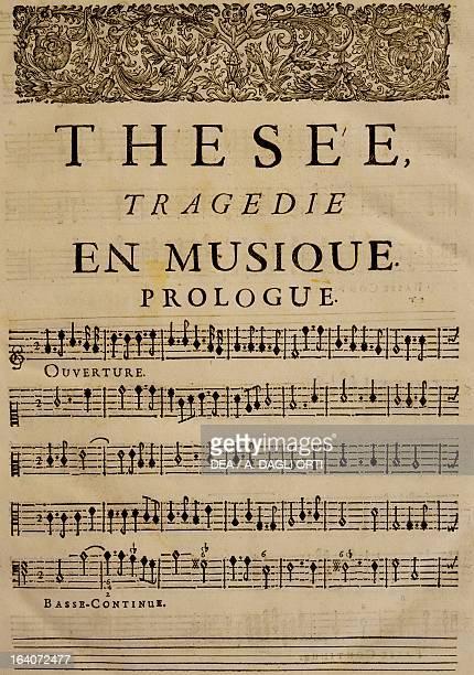 Prologue of Theseus tragedy in music by JeanBaptiste Lully Vienna Gesellschaft Der Musikfreunde