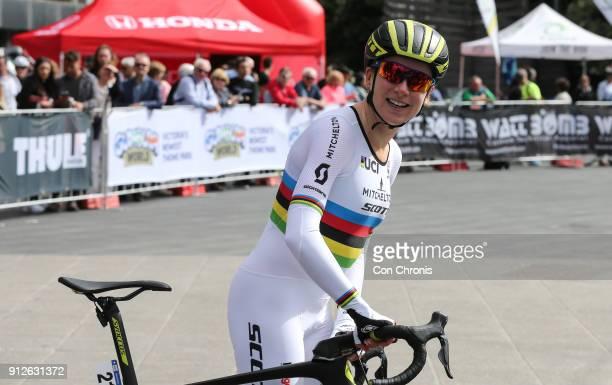 Prologue winner Annemiek Van Vluten MitcheltonScott at the Women's 2018 Herald Sun Tour Prologue 16km Individual Time Trial on January 31 2018 in...