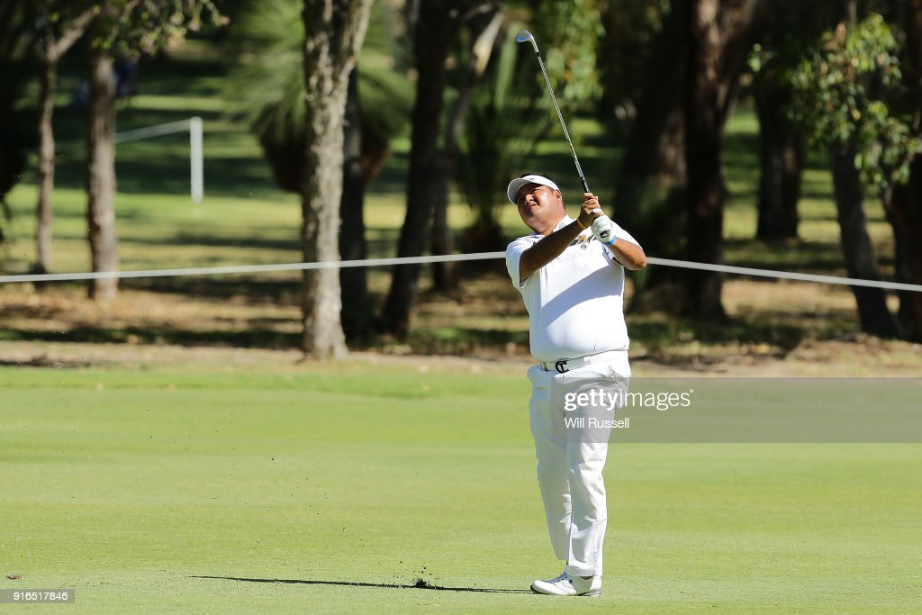 Prom Meesawat of Thailand plays his second shot on the 14th hole during day three of the World Super 6 at Lake Karrinyup Country Club on February 10, 2018 in Perth, Australia.