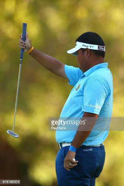 Prom Meesawat of Thailand reads the 16th green during day two of the World Super 6 at Lake Karrinyup Country Club on February 9 2018 in Perth...