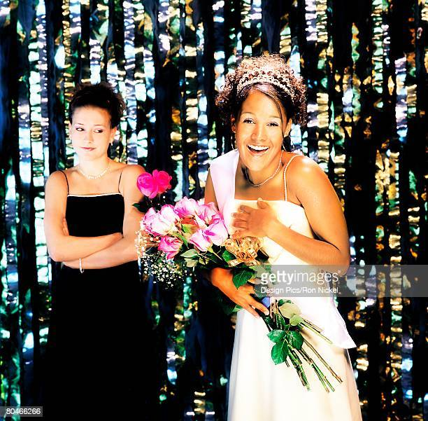 prom queen and jealous runner up - second place stock pictures, royalty-free photos & images