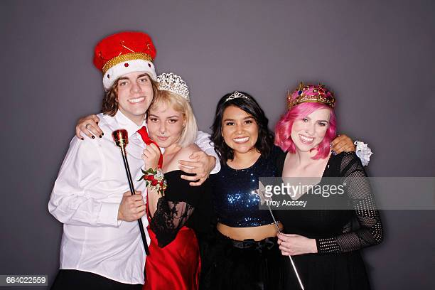 Prom Queen and King and others at dance.