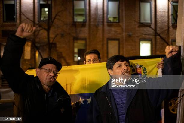 ProMaduro demonstrators rally outside of the Venezuelan Embassy on January 23 2019 in Washington DC Protesters criticized President Trump's...