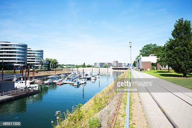 Promenade and yachts in inner harbor Duisburg
