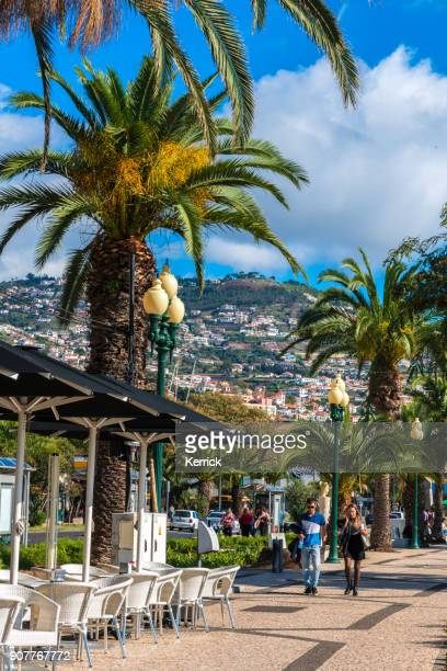 Promenade at Funchal harbor with sailing ships - Madeira, Portugal