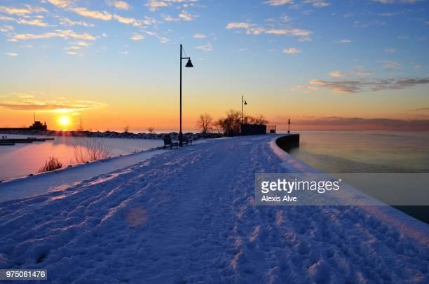 Promenade at sunrise, Port Credit, Mississauga, Ontario, Canada