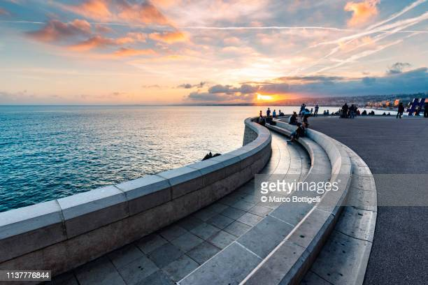 promenade at sunset, nice, france - nice france stock pictures, royalty-free photos & images