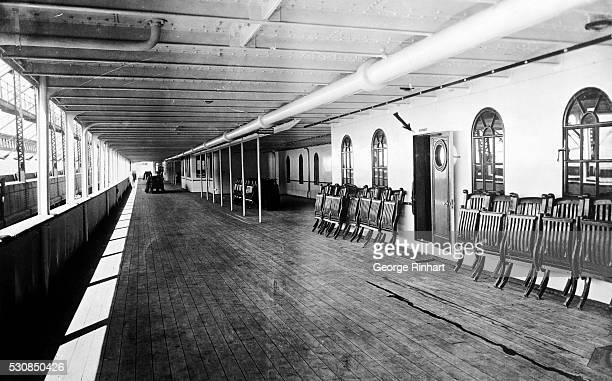 Promenade deck of the White Star liner ship the RMS Olympic sister ship of the illfated Titanic