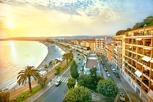 Promenade des Anglais in Nice at sunset. Cote d'Azur, France 1052318770