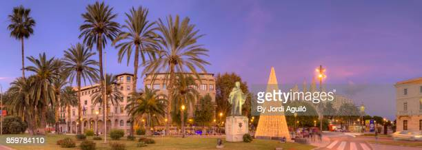 promenade of palma de mallorca during christmas - palma majorca stock photos and pictures