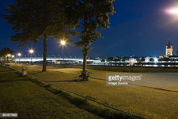 Promenade on the river rhine