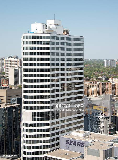 Prominent buildings in Toronto Skyline Aerial perspective view building in downtown Toronto