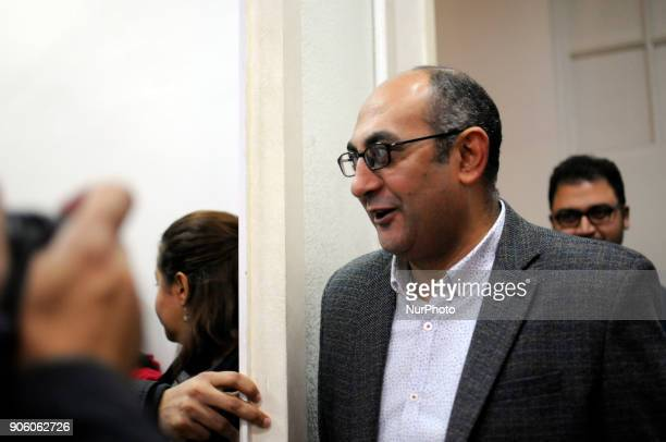 Prominent Egyptian Human Rights Lawyer and Activist and Egyptian presidential candidate Khaled Ali arrives during a press conference in Cairo Egypt...