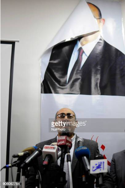 Prominent Egyptian Human Rights Lawyer and Activist and Egyptian presidential candidate Khaled Ali makes a speech during a press conference in Cairo...