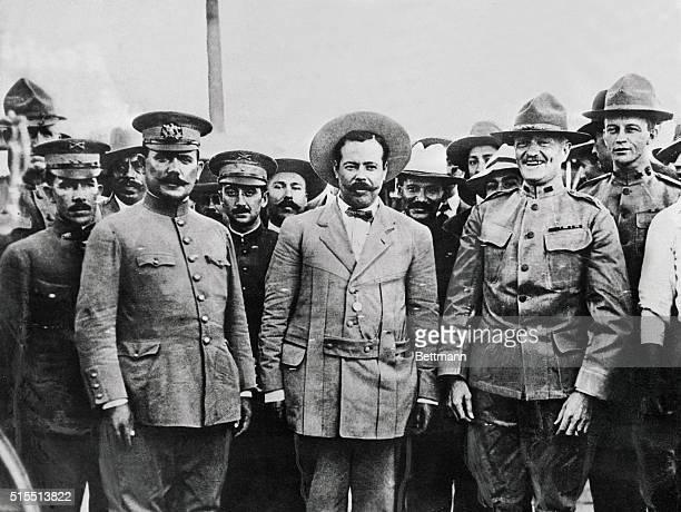 Prominent military leaders General Alvaro Obregon General Pancho Villa and General John J Pershing