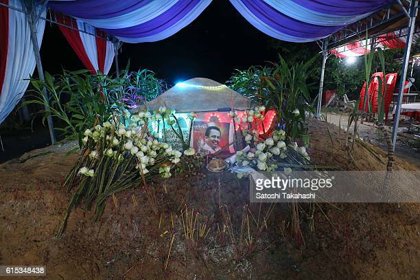 Prominent political analyst Kem Ley's grave which was decorated with illuminations for a funeral ceremony to mark 100 days since his death Kem Ley...