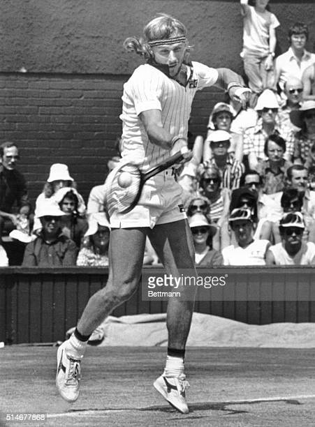 Prominent Swedish tennis player Bjorn Borg hits a forehand shot during a game against American Jimmy Connors during the 1979 Wimbledon Championship....