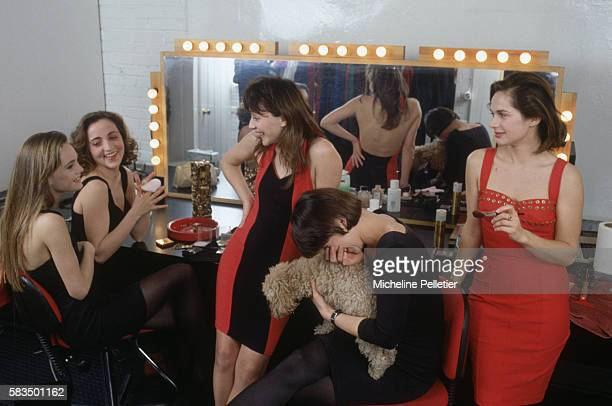 Promising French actresses Vanessa Paradis Dominique Blanc Mireille Perrier Isabelle Gelinas and Valerie Gelinas joke together in the makeup room one...