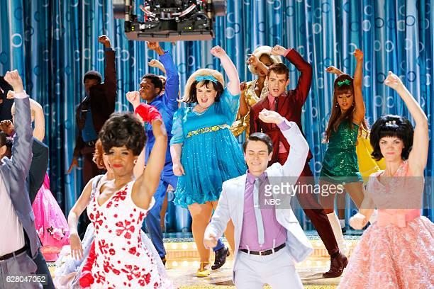 Promo -- Pictured: Maddie Baillio as Tracy Turnblad, Garrett Clayton as Link Larkin, Ariana Grande as Penny Pingleton --