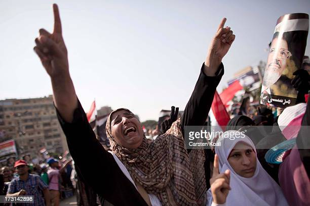 ProMohamed Morsi supporters rally near to where over 50 people were purported to have been killed by members of the Egyptian military and police in...